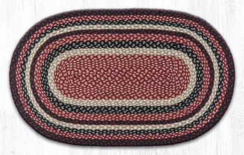 "27"" x 45"" Burgundy Black Tan Braided Jute Oval Rug"