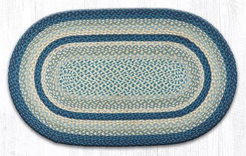 """27"""" x 45"""" Breezy Blue Taupe Ivory Braided Jute Oval Rug"""