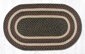 "27"" x 45"" Burgundy Black Dijon Braided Jute Oval Rug"