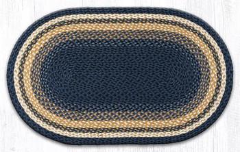 "27"" x 45"" Light Blue Dark Blue Mustard Braided Jute Oval Rug"
