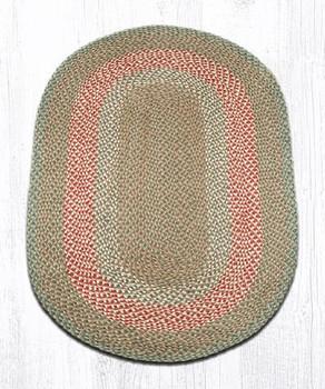 3' x 5' Green Burgundy Braided Jute Oval Rug