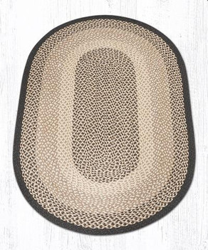 3' x 5' Chocolate Natural Braided Jute Oval Rug