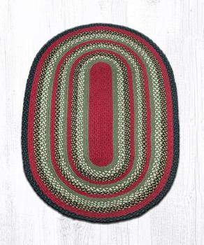 3' x 5' Olive Burgundy Charcoal Braided Jute Oval Rug