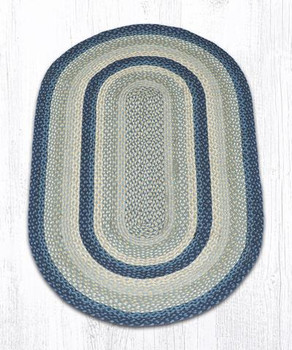 3' x 5' Breezy Blue Taupe Ivory Braided Jute Oval Rug