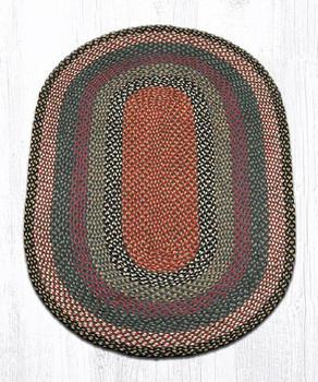 3' x 5' Burgundy Blue Gray Braided Jute Oval Rug