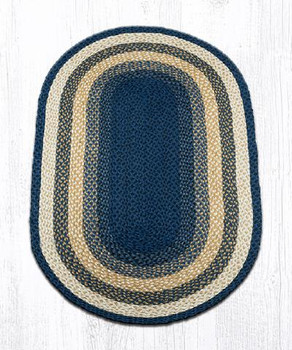3' x 5' Light Blue Dark Blue Mustard Braided Jute Oval Rug