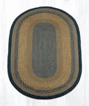 3' x 5' Brown Black Charcoal Braided Jute Oval Rug
