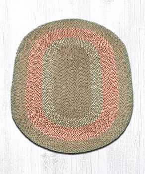 4' x 6' Green Burgundy Braided Jute Oval Rug