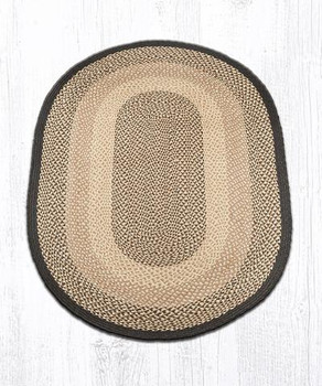 4' x 6' Chocolate Natural Braided Jute Oval Rug
