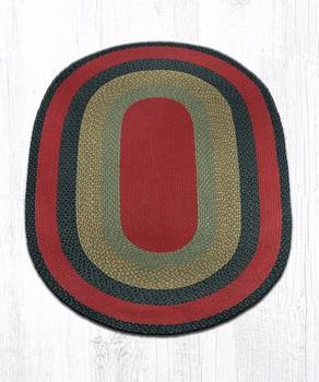 4' x 6' Burgundy Olive Charcoal Braided Jute Oval Rug
