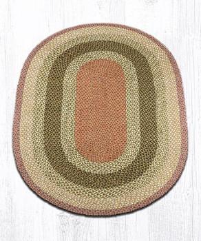 4' x 6' Olive Burgundy Gray Braided Jute Oval Rug
