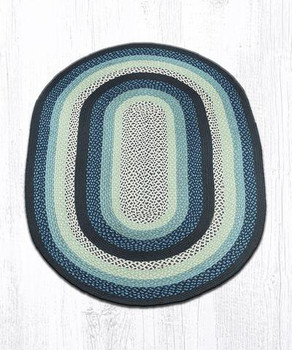 4' x 6' Blueberry Cream Braided Jute Oval Rug