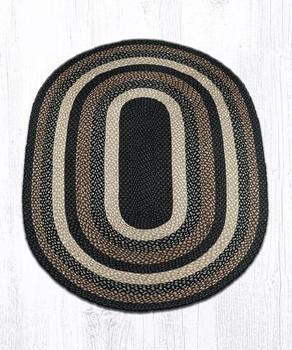 4' x 6' Mocha Frappuccino Braided Jute Oval Rug