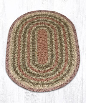 4' x 6' Burgundy Olive Gray Braided Jute Oval Rug