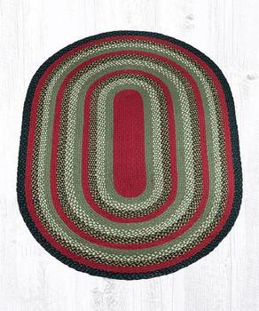 4' x 6' Olive Burgundy Charcoal Braided Jute Oval Rug