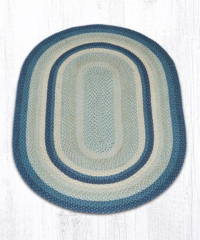 4' x 6' Breezy Blue Taupe Ivory Braided Jute Oval Rug