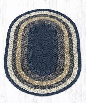 4' x 6' Light Blue Dark Blue Mustard Braided Jute Oval Rug