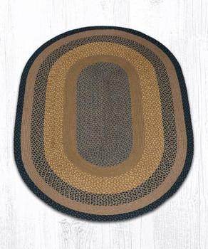4' x 6' Brown Black Charcoal Braided Jute Oval Rug