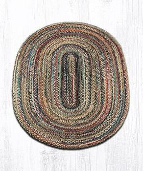 4' x 6' Random Colors Braided Jute Oval Rug
