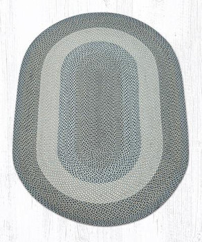 5' x 8' Blue Natural Braided Jute Oval Rug