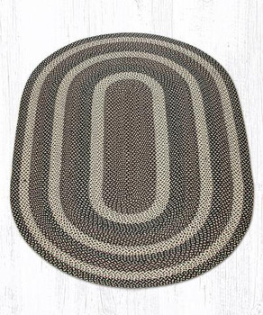 5' x 8' Ebony Ivory Chocolate Braided Jute Oval Rug