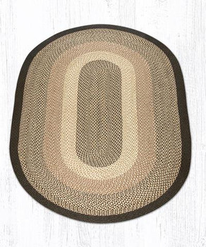 5' x 8' Chocolate Natural Braided Jute Oval Rug