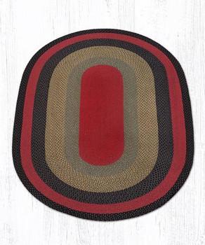 5' x 8' Burgundy Olive Charcoal Braided Jute Oval Rug