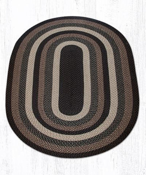 5' x 8' Mocha Frappuccino Braided Jute Oval Rug