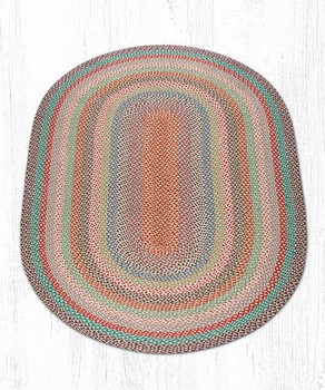 5' x 8' Multi Color Braided Jute Oval Rug