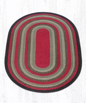 5' x 8' Olive Burgundy Charcoal Braided Jute Oval Rug