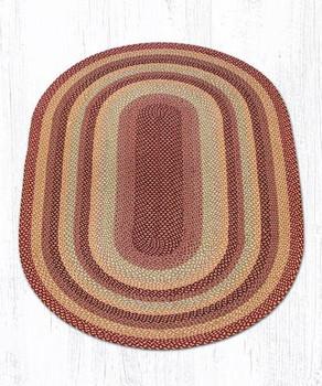 5' x 8' Burgundy/Gray/Cream Braided Jute Oval Rug