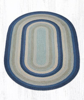 5' x 8' Breezy Blue Taupe Ivory Braided Jute Oval Rug