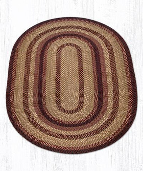 5' x 8' Black Cherry Chocolate Cream Braided Jute Oval Rug