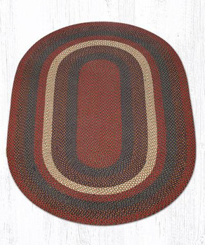 5' x 8' Burgundy Gray Braided Jute Oval Rug