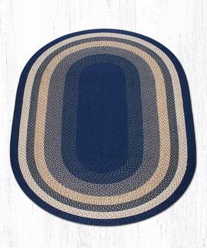 5' x 8' Light Blue Dark Blue Mustard Braided Jute Oval Rug
