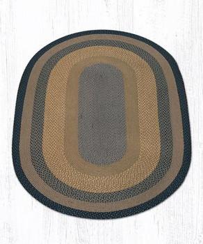 5' x 8' Brown Black Charcoal Braided Jute Oval Rug