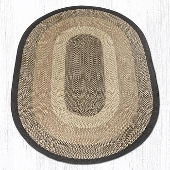 6' x 9' Chocolate Natural Braided Jute Oval Rug