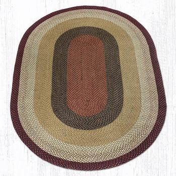 6' x 9' Burgundy Mustard Braided Jute Oval Rug