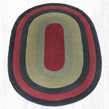 6' x 9' Burgundy Olive Charcoal Braided Jute Oval Rug