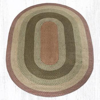 6' x 9' Olive Burgundy Gray Braided Jute Oval Rug