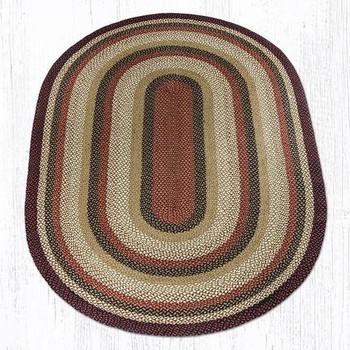 6' x 9' Burgundy Mustard Ivory Braided Jute Oval Rug