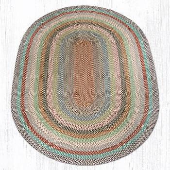 6' x 9' Multi Color Braided Jute Oval Rug