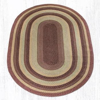 6' x 9' Burgundy/Gray/Cream Braided Jute Oval Rug