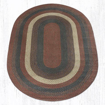 6' x 9' Burgundy Gray Braided Jute Oval Rug