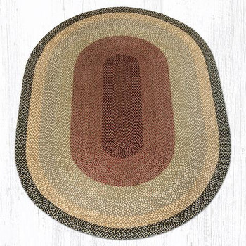 6' x 9' Burgundy Gray Cream Braided Jute Oval Rug