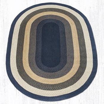 6' x 9' Light Blue Dark Blue Mustard Braided Jute Oval Rug