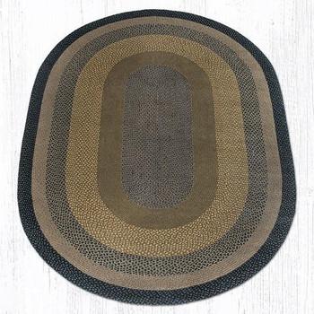 6' x 9' Brown Black Charcoal Braided Jute Oval Rug