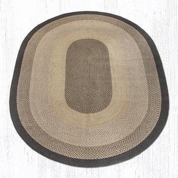8' x 11' Chocolate Natural Braided Jute Oval Rug