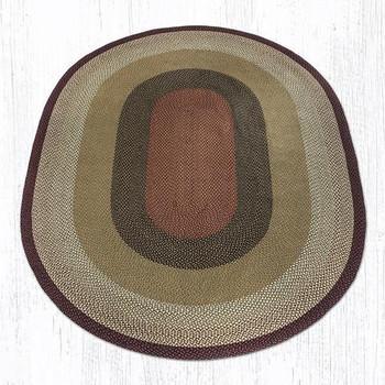 8' x 11' Burgundy Mustard Braided Jute Oval Rug