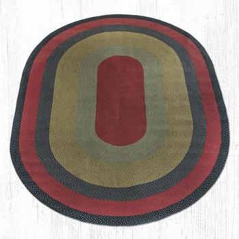8' x 11' Burgundy Olive Charcoal Braided Jute Oval Rug
